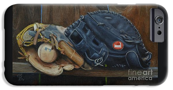 Baseball Glove iPhone Cases - Lets play catch iPhone Case by Ralph Taeger
