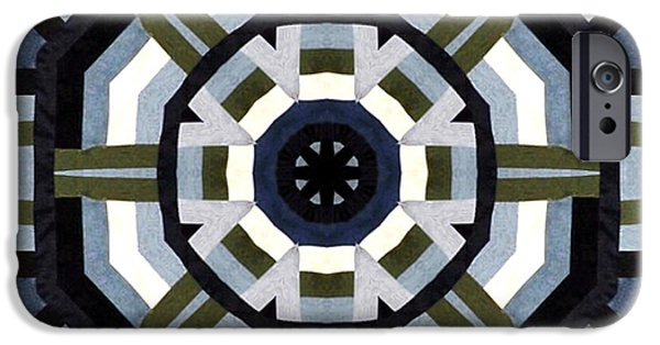 Block Quilts Tapestries - Textiles iPhone Cases - Daddys Denims Quilt iPhone Case by Barbara Griffin
