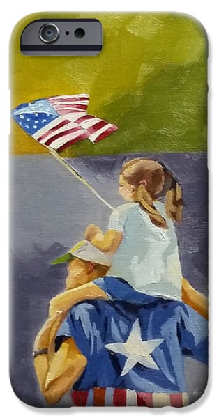 Fourth Of July Paintings iPhone Cases - Daddys Girl iPhone Case by Kari Melen