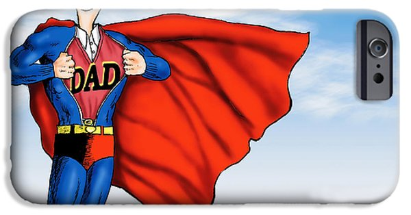 Brave Mixed Media iPhone Cases - Daddys Home Superman Dad iPhone Case by Tony Rubino