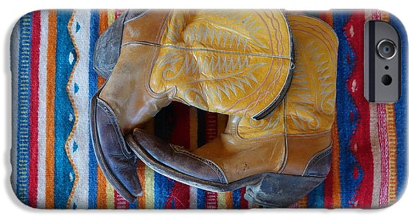 Work Tool iPhone Cases - Dads old boots in color. iPhone Case by Cindy Daly