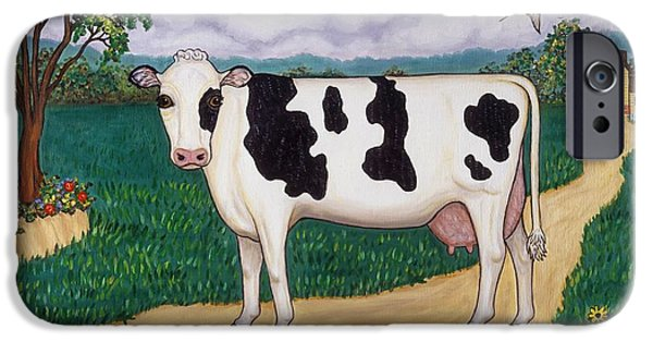 Barn Swallow Paintings iPhone Cases - Dads Prize Milk Cow iPhone Case by Linda Mears