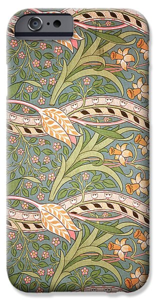 Design Tapestries - Textiles iPhone Cases - Daffodil Chintz iPhone Case by John Henry Dearle