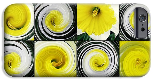 Business Digital Art iPhone Cases - Daffodil Spring Mosaic iPhone Case by Sarah Loft