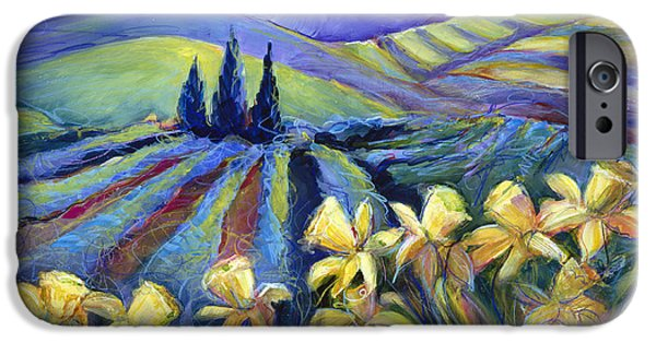 Storm Paintings iPhone Cases - Daffodils and Stormclouds iPhone Case by Jen Norton