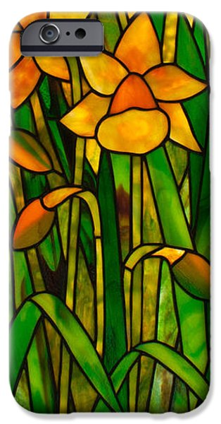 Florals Glass Art iPhone Cases - Daffodils iPhone Case by David Kennedy