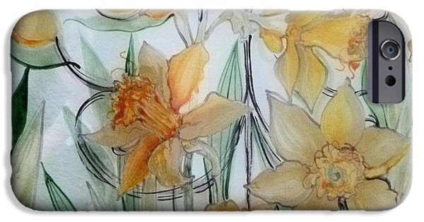 Florals Glass Art iPhone Cases - Daffodils iPhone Case by Sharon Cox