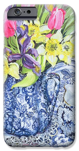 Pottery Paintings iPhone Cases - Daffodils Tulips and Irises with Blue Antique Pots  iPhone Case by Joan Thewsey