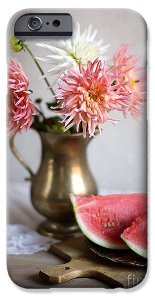 Wood Carving iPhone Cases - Dahlia and Melon iPhone Case by Nailia Schwarz