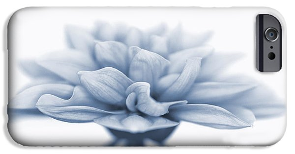 Close Up Floral iPhone Cases - Dahlietta Amy Cyanotype iPhone Case by John Edwards
