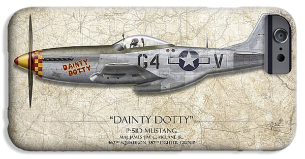 P-51 Mustang iPhone Cases - Dainty Dotty P-51D Mustang - Map Background iPhone Case by Craig Tinder
