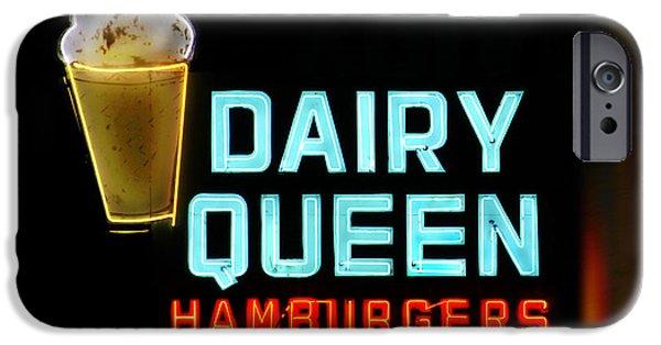 Queen Digital Art iPhone Cases - Dairy Queen Neon Sign - Route 66 iPhone Case by Mike McGlothlen