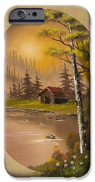 Bob Ross Paintings iPhone Cases - Flowers at Sunrise iPhone Case by C Steele