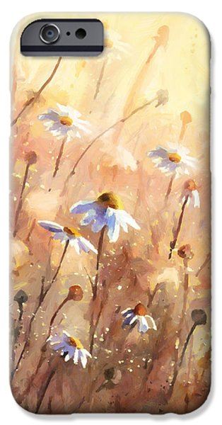 Poetic Mixed Media iPhone Cases - Daisies At Sunset - Impressionism iPhone Case by Georgiana Romanovna