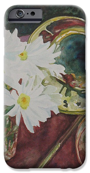 Swing Paintings iPhone Cases - Daisies Bold as Brass iPhone Case by Jenny Armitage
