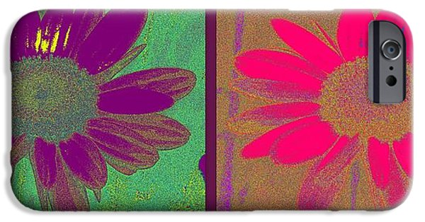 Floral Digital Art Digital Art iPhone Cases - Daisies Purple Pink iPhone Case by Linda Galok