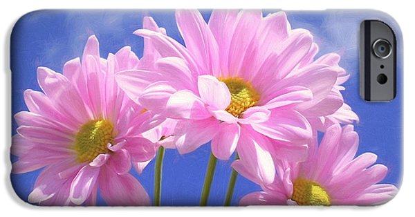Floral Digital Art Digital Art iPhone Cases - Daisies Three iPhone Case by Kim Hojnacki