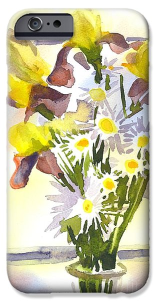 Interior Still Life iPhone Cases - Daisies with Yellow Irises iPhone Case by Kip DeVore