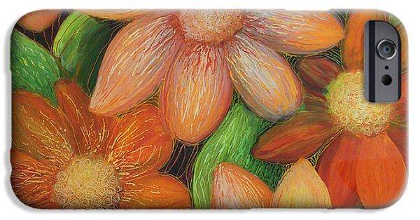 Paint Glass Art iPhone Cases - Daisy Bouquet iPhone Case by Anna Skaradzinska