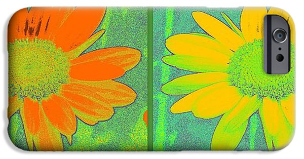 Floral Digital Art Digital Art iPhone Cases - Daisy Collage Yellow Orange iPhone Case by Linda Galok