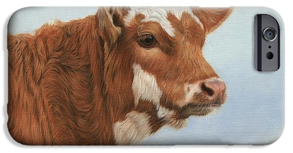 Farm Animals Paintings iPhone Cases - Daisy iPhone Case by David Stribbling