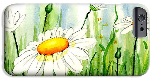 Ann iPhone Cases - Daisy Field iPhone Case by Annie Troe