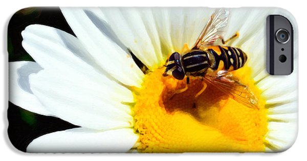 Concept Mixed Media iPhone Cases - Daisy flower with fly iPhone Case by Toppart Sweden