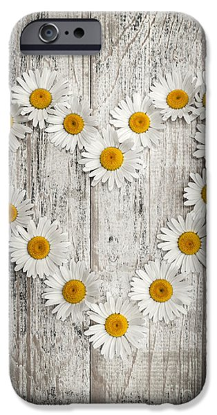 Board iPhone Cases - Daisy heart on old wood iPhone Case by Elena Elisseeva