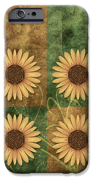Flower Design iPhone Cases - Daisy Quatro v12c03 iPhone Case by Variance Collections
