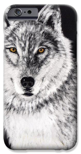 Canis Lupus Mixed Media iPhone Cases - The Sentinel iPhone Case by Lora Duguay