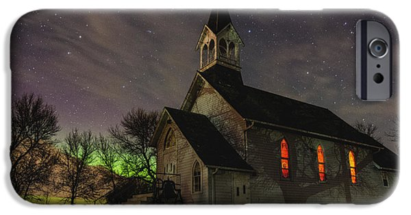 Northern Lights iPhone Cases - Dakota Territory Aurora  iPhone Case by Aaron J Groen
