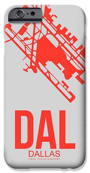 Miami Digital Art iPhone Cases - DAL Dallas Airport Poster 1 iPhone Case by Naxart Studio