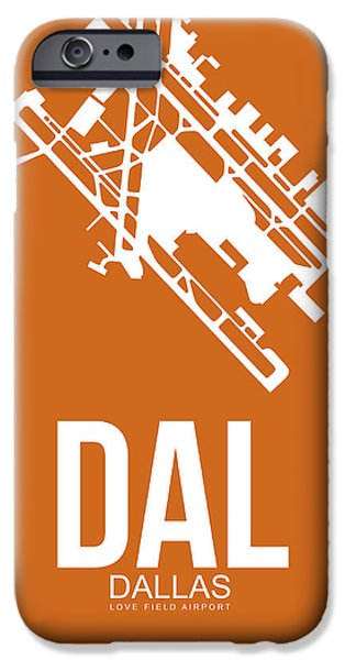 Dallas iPhone Cases - DAL Dallas Airport Poster 2 iPhone Case by Naxart Studio