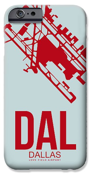 Dallas iPhone Cases - DAL Dallas Airport Poster 3 iPhone Case by Naxart Studio