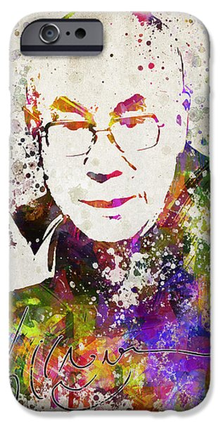 Buddhist iPhone Cases - Dalai Lama in Color iPhone Case by Aged Pixel