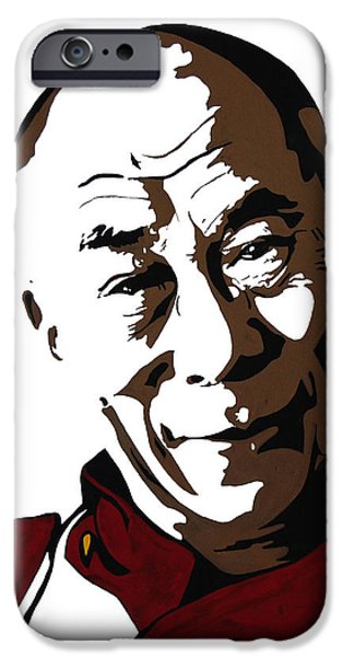 Tibetan Buddhism Mixed Media iPhone Cases - Dalai Lama iPhone Case by Nancy Mergybrower