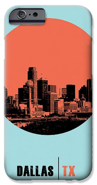 Dallas iPhone Cases - Dallas Circle Poster 1 iPhone Case by Naxart Studio