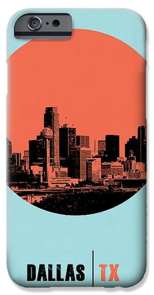 Miami Digital Art iPhone Cases - Dallas Circle Poster 1 iPhone Case by Naxart Studio