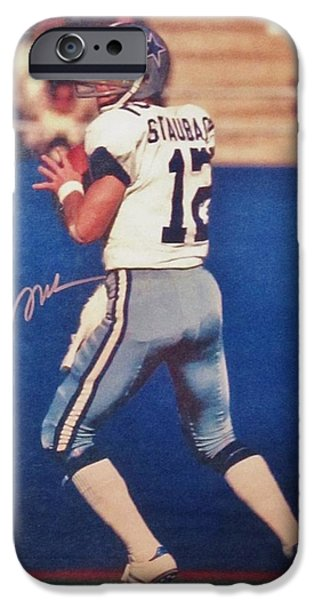 Recently Sold -  - Autographed iPhone Cases - Dallas Cowboys Quarterback #12 Roger Staubach iPhone Case by Donna Wilson