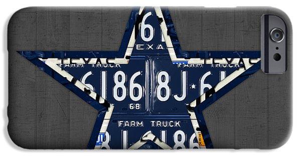 Dallas iPhone Cases - Dallas Cowboys Football Team Retro Logo Texas License Plate Art iPhone Case by Design Turnpike