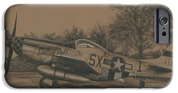 Flight Drawings iPhone Cases - Dallas Doll iPhone Case by Wade Meyers