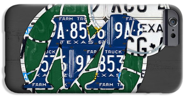 Basketball Team iPhone Cases - Dallas Mavericks Basketball Team Retro Logo Vintage Recycled Texas License Plate Art iPhone Case by Design Turnpike
