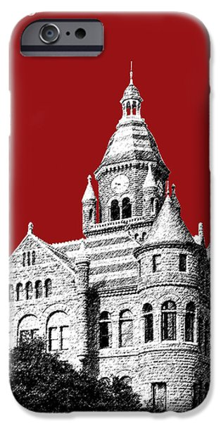 Pen And Ink iPhone Cases - Dallas Skyline Old Red Courthouse - Dark Red iPhone Case by DB Artist