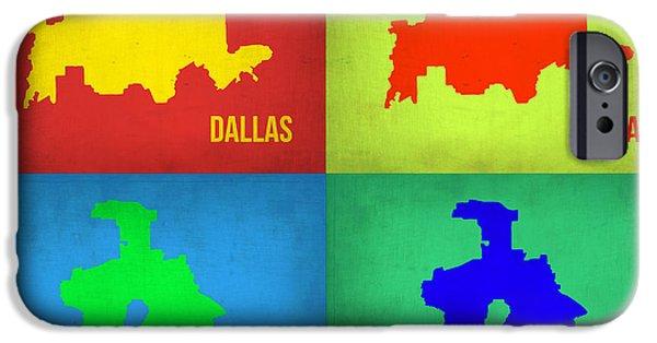 Dallas iPhone Cases - Dallas Pop Art Map 1 iPhone Case by Naxart Studio