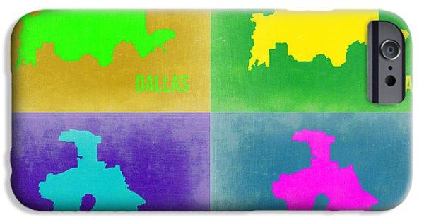 Dallas iPhone Cases - Dallas Pop Art Map 2 iPhone Case by Naxart Studio
