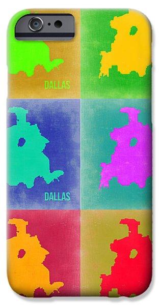Dallas iPhone Cases - Dallas Pop Art Map 3 iPhone Case by Naxart Studio