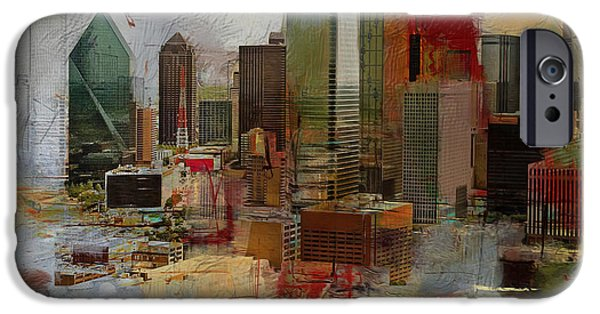 Arlington iPhone Cases - Dallas Skyline 003 iPhone Case by Corporate Art Task Force