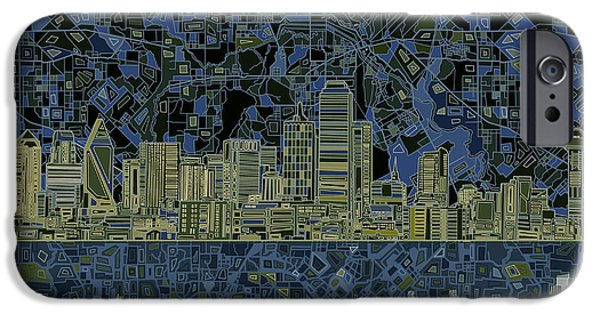 Recently Sold -  - Mosaic iPhone Cases - Dallas Skyline Abstract 2 iPhone Case by MB Art factory