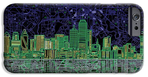 Abstract Digital iPhone Cases - Dallas Skyline Abstract 4 iPhone Case by MB Art factory