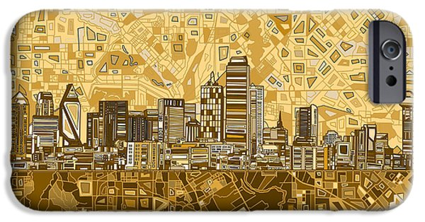 Recently Sold -  - Mosaic iPhone Cases - Dallas Skyline Abstract 6 iPhone Case by MB Art factory